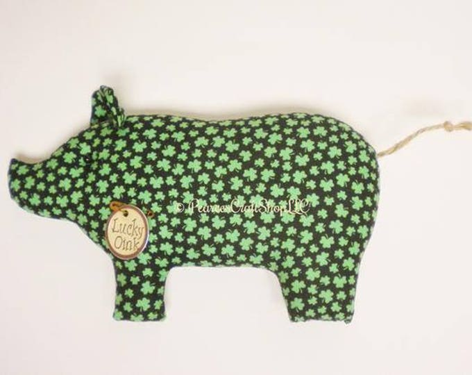 Primitive St. Patrick's Day Pig - Made To Order | Shamrock Fabric Pigs | St. Patrick's Day Decor | Primitive Pigs