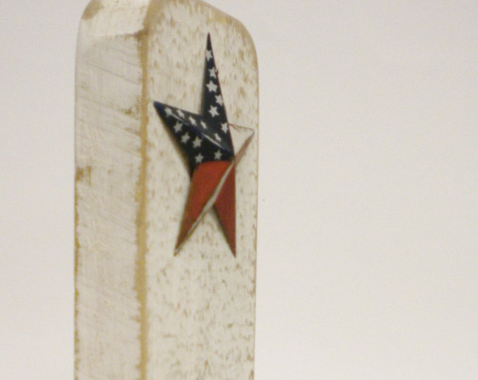 Rounded Edge Candle Holder with Flag Star | Primitive Americana Handmade Wood Sconces