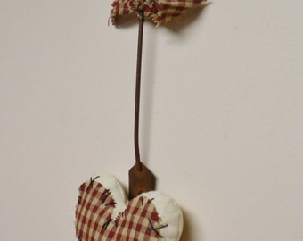 Primitive Heart Ornament, Valentine's Day Decor, Country Farmhouse Accents, Kitchen Decor