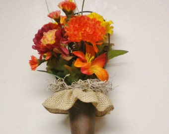 Flowers in Rusty Metal Cone Hanger, Primitive Flowers, Fall Decor, Flower Arrangements