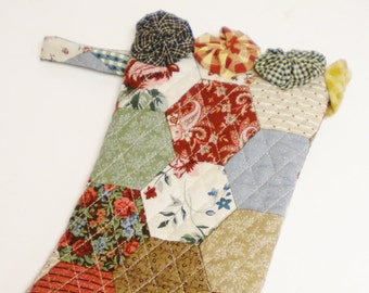 Christmas Stocking, Quilted Fabric Stockings, Primitive Stockings