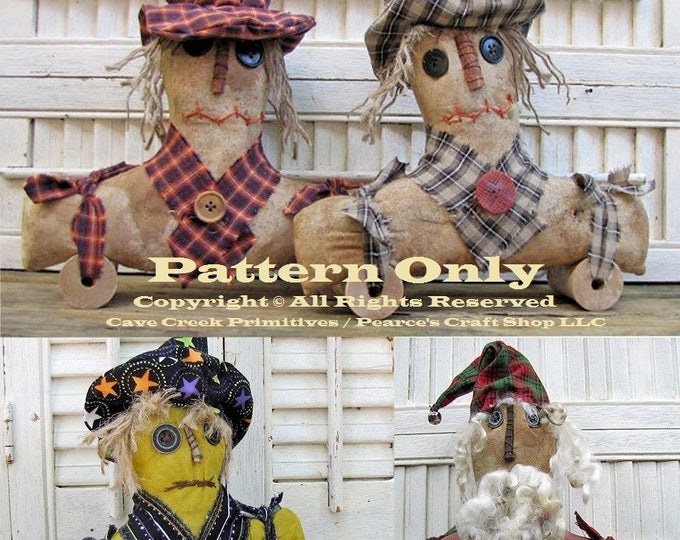 Primitive Pull Toy Patterns, Primitive Dolls, ePatterns, Primitive Santa Patterns, Primitive Scarecrow Patterns, Primitive Witch Patterns