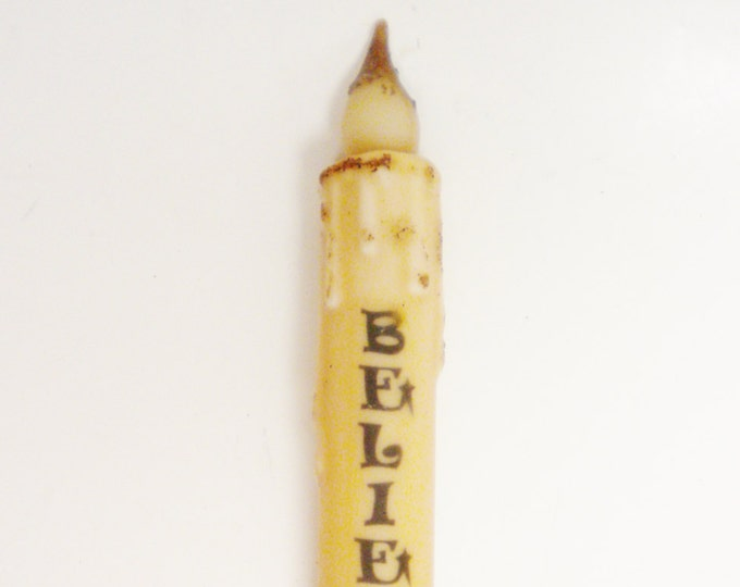 Believe Timer Taper Candle | Primitive Candles | Christmas Timer Tapers