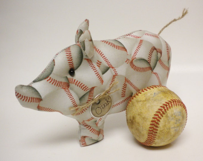 Baseball Pig - Made To Order | Sports Collectibles | Primitive Pigs