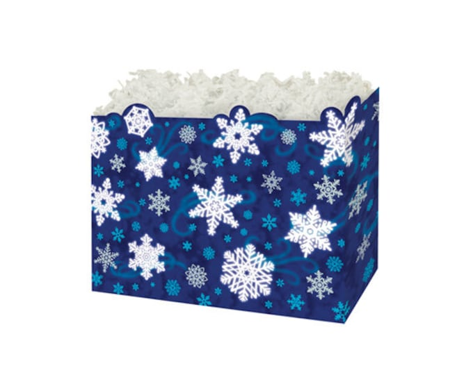 Snowflake Gift Box   Christmas Gift Basket Boxes   Winter Theme Gift Boxes