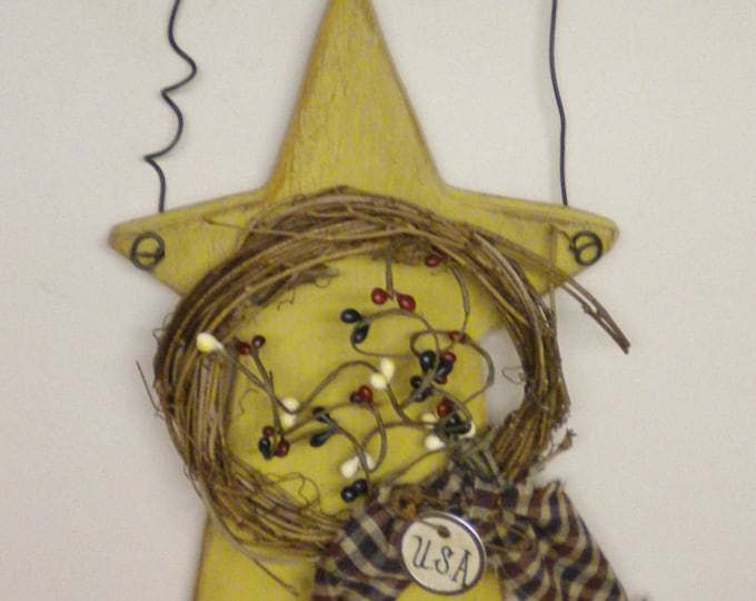 Star Hanger, Primitive Americana Stars, Wood Stars, Country Farmhouse Accents
