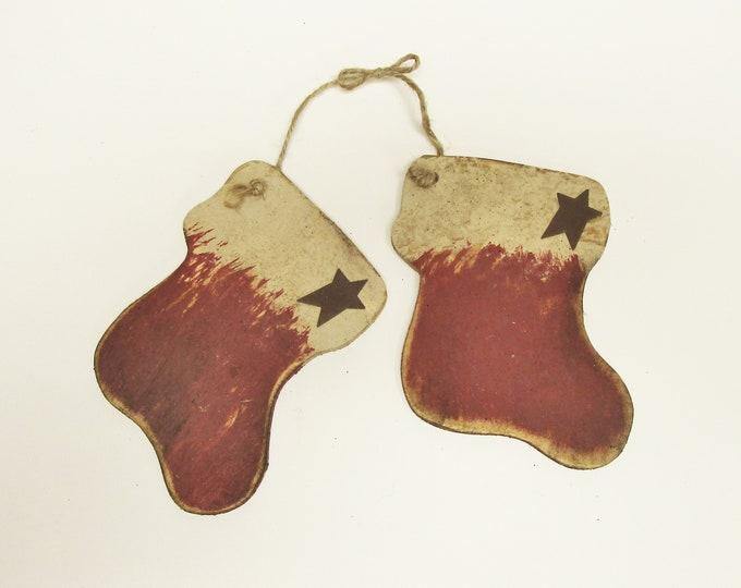 Stockings Ornament | Primitive Ornaments | Christmas Stockings Wood Ornaments