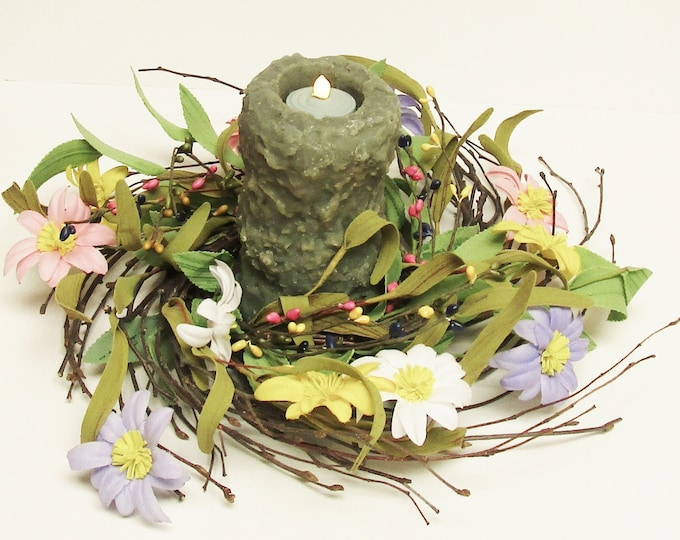 Primitive Spring Flower Wreath with Candle | Spring Centerpieces | Lighted Floral Arrangements