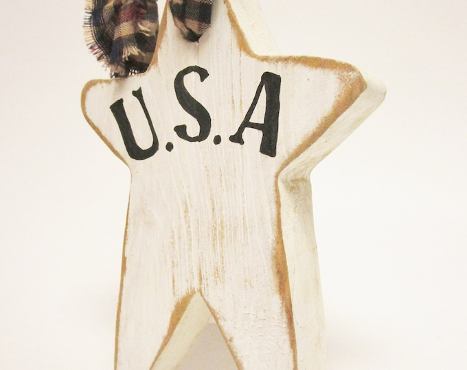 USA Star Ornament, Primitive Americana Wood Star Ornament
