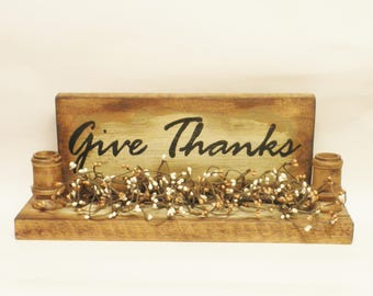Give Thanks Double Candle Holder Sign, Decorative Signs, Primitive Candle Holders, Country Farmhouse Decor