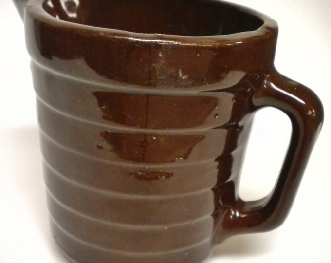Brown Batter Pitcher Stoneware Pottery Made in U.S.A. | Vintage Pottery Kitchen Decor