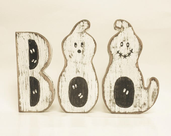 Boo Block Letter Ghosts - Made To Order | Primitive Ghosts | Halloween Decor