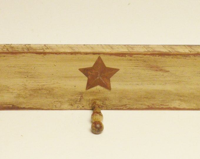 Peg Shelf with Three Pegs and Rusty Star   Peg Shelves   Shaker Peg Rails   Primitive Peg Racks