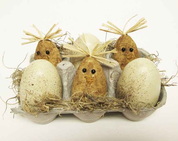 Primitive Chicks and Eggs in Carton | Spring Easter Decor | Country Farmhouse Kitchen Decor