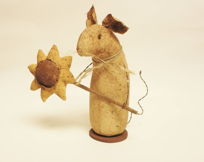 Extreme Primitive Sunflower Mouse - Made To Order | Primitive Mouse Decor | Fall Harvest Decor