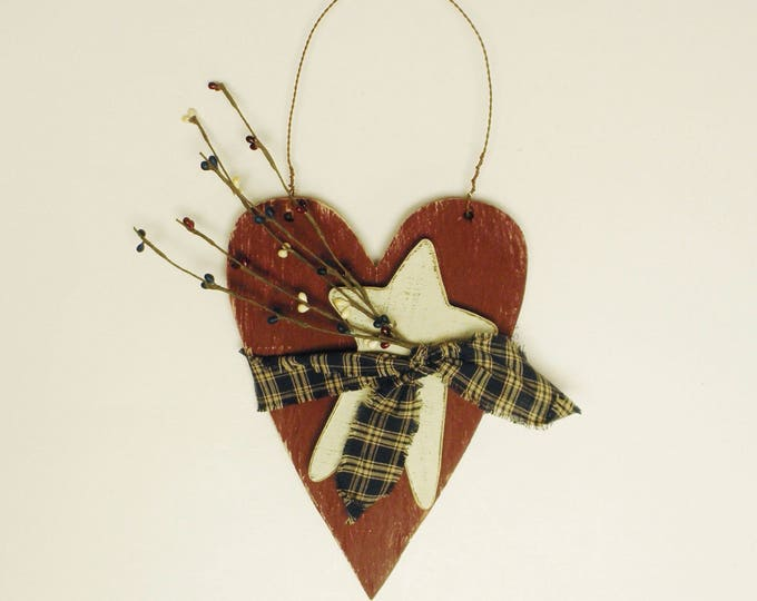 Patriotic Heart with Star Ornament, Large Wood Heart Ornaments, Primitive Americana Decor