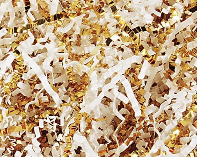 White & Gold Mix Paper Shred, Gift Basket Filler, Gift Box Packing Material, Decorative Paper