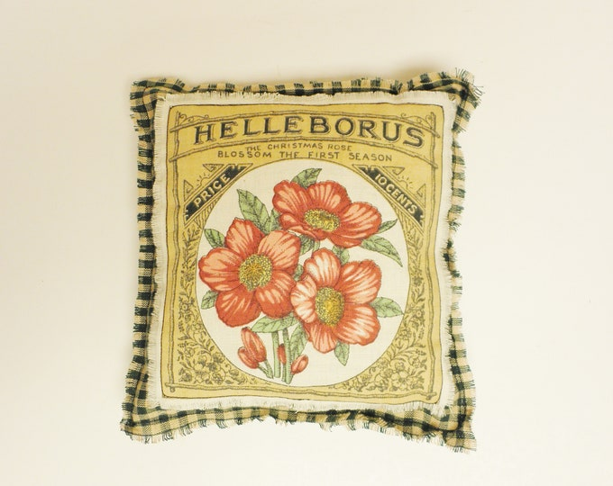 Flower Seed Label Pillow | Throw Pillows | Spring Accent Pillows| Primitive Pillows