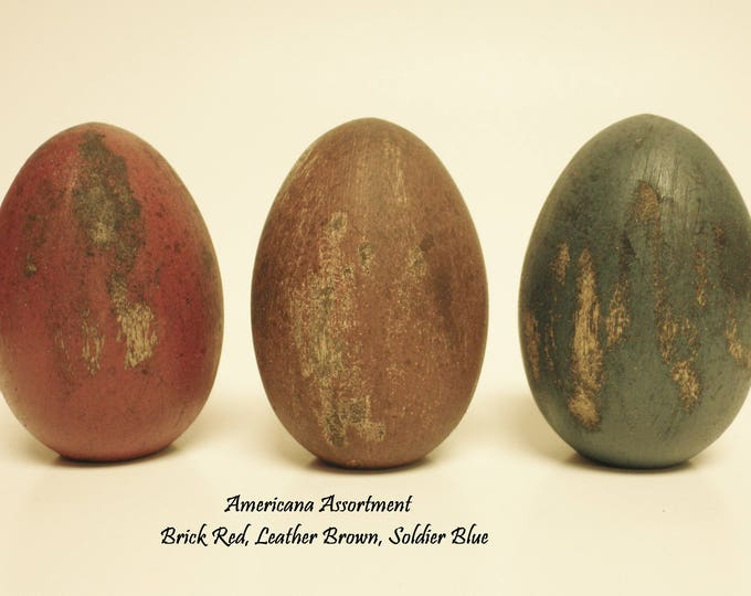 Primitive Eggs (Set of 3), Distressed Painted Wood Eggs, Spring Decor, Easter Eggs, Country Farmhouse Decor