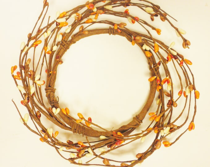 Pip Berry Ring in Orange Tan and Cream | Candle Rings | Pip Berry Wreaths
