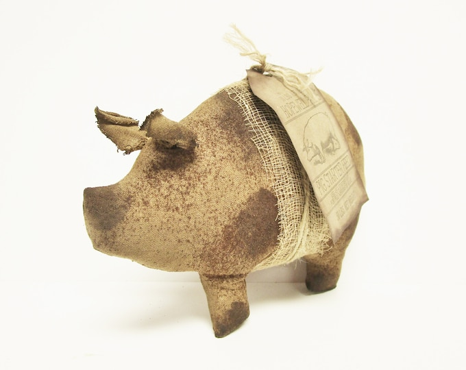 Primitive Brown Spotted Pig, Country Farmhouse Decorative Pigs
