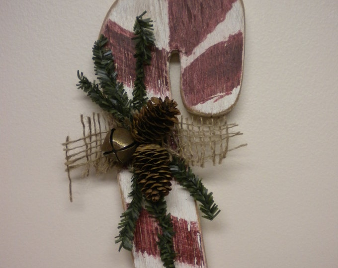 Candy Cane Ornament, Wood Candy Canes, Handmade Candy Canes, Primitive Christmas Ornaments