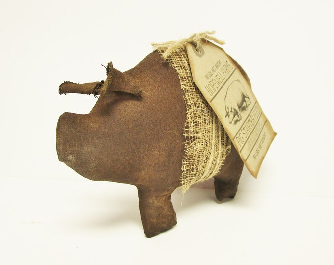 Primitive Brown Pig, Handmade Pigs Country Farmhouse Accents