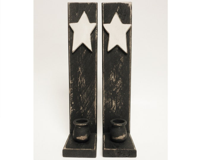 Candle Sconce Pair with Wood Star, Handmade Candle Holders, Primitive Wall Sconces