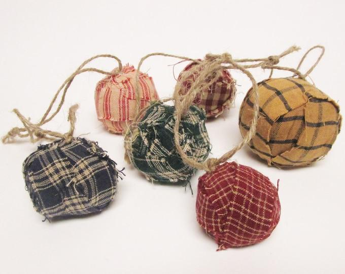 Rag Ball Ornament Set of Six, Primitive Ornaments, Rag Balls, Christmas Tree Ornaments