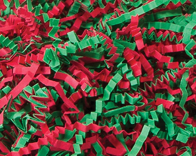 Christmas Mix Paper Shred, Red Green Paper Shred, Holiday Gift Basket Filler, Packing Material
