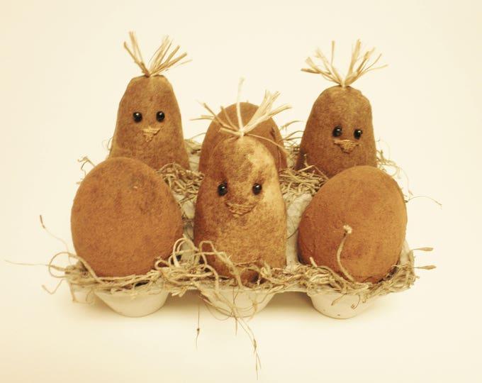 Primitive Chicks and Eggs in Carton, Spring Easter Decor, Country Farmhouse Handmade Animals