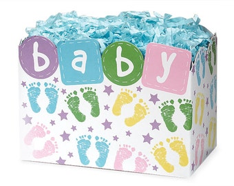 Baby Gift Box, Baby Footprints Gift Basket Box, Baby Theme Gift Boxes