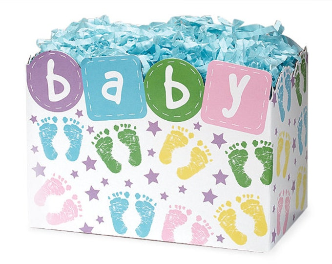 Baby Gift Box   Baby Footprints Gift Basket Box   Baby Shower Gift Boxes