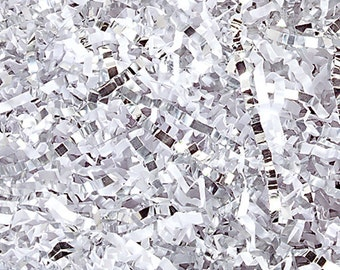 White & Silver Mix Paper Shred, Gift Basket Filler, Gift Box Packing Material, Decorative Paper