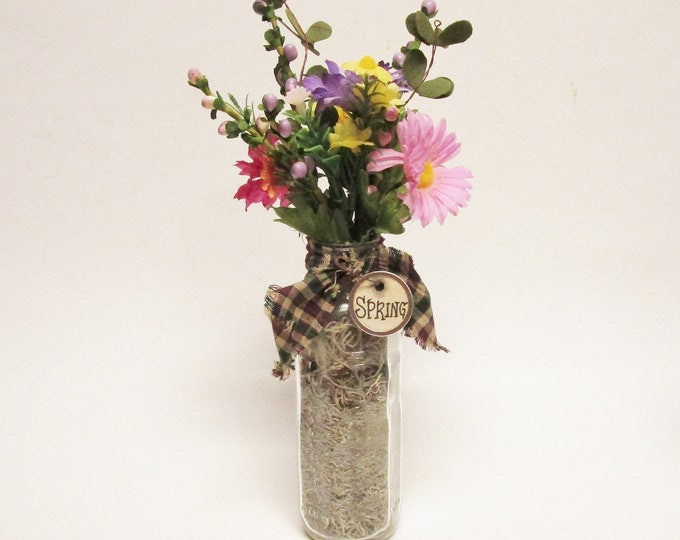 Vintage Glass Baby Bottle Floral Arrangement | Primitive Flowers | Spring Decor