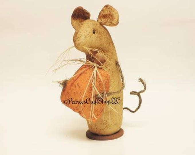 Extreme Primitive Pumpkin Mouse - Made To Order | Primitive Mouse | Fall Harvest Decor
