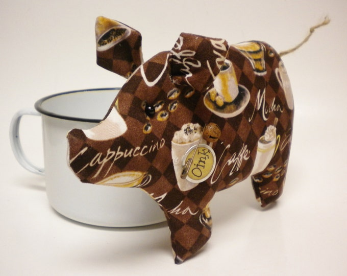Coffee Lovers Pig - Made To Order | Primitive Pigs | Country Farmhouse Pig Decor