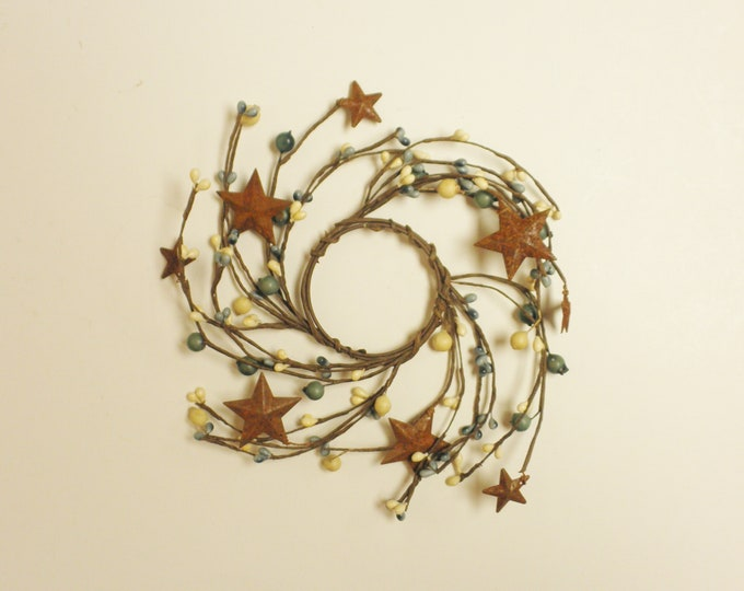Pip Berry Ring in Blue and Cream with Rusty Stars | Candle Rings | Primitive Wreaths | Country Farmhouse Decor | Pip Berry Wreaths