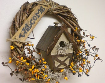 Grapevine Wreath with Bird House, Primitive Wreaths, Country Farmhouse Decor, Fall Decor, Handmade Wreaths