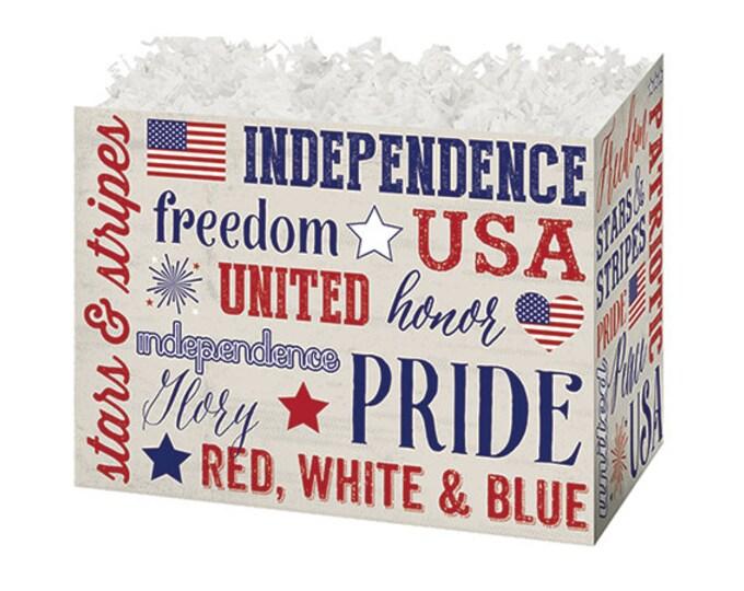 Americana Gift Box   Patriotic Theme Gift Basket Boxes   USA Flag Boxes