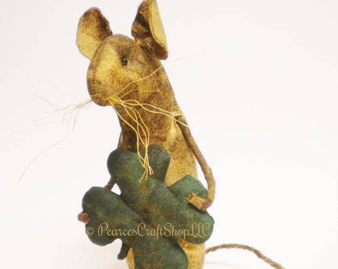Extreme Primitive Shamrock Mouse -  Made To Order | St. Patrick's Day Mouse | Handmade Mice