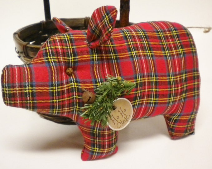 Christmas Pig - Made To Order | Primitive Pigs | Christmas Decor
