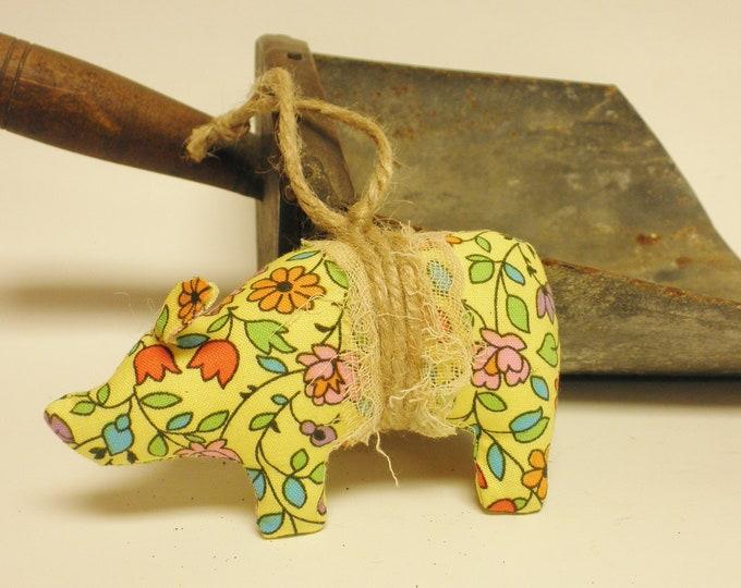 Floral Pig Ornament | Primitive Pig Ornaments | Spring Decor Pigs