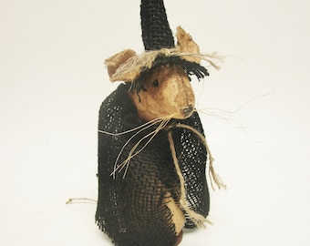 Primitive Witch Mouse, Handmade Mouse, Mouse Witch, Halloween Mouse, Mouse Decor