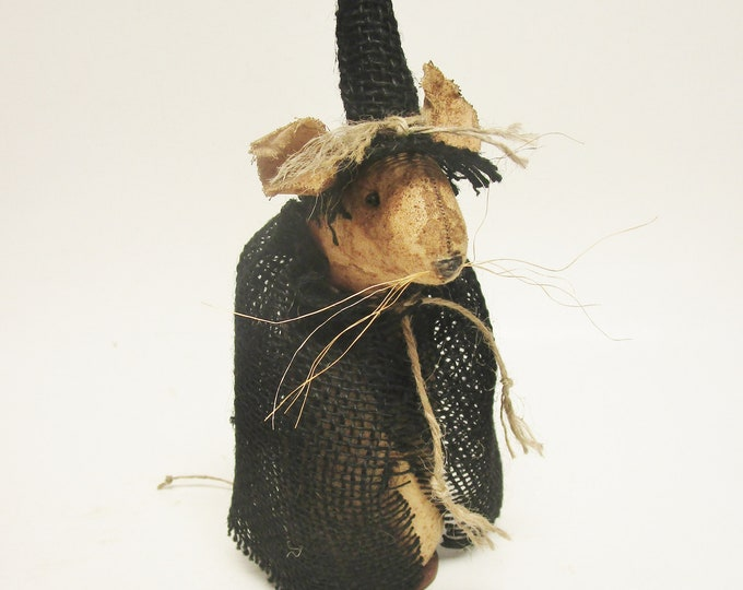 Primitive Mouse Witch | Handmade Mouse | Mouse Witch | Halloween Decor | Handmade Mouse Decor