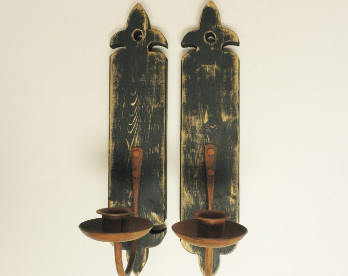 Wall Sconce Pair, Wood Sconces, Metal Sconces, Handmade Candle Holders