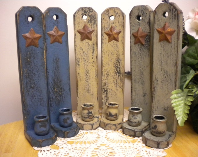 Candle Sconce with Rusty Star - Made To Order | Primitive Candle Holders | Wall Sconces | Country Farmhouse Decor