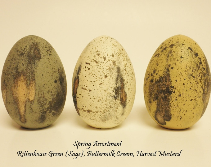 Primitive Eggs (Set of 3) | Distressed Painted Wood Eggs | Spring Easter Eggs