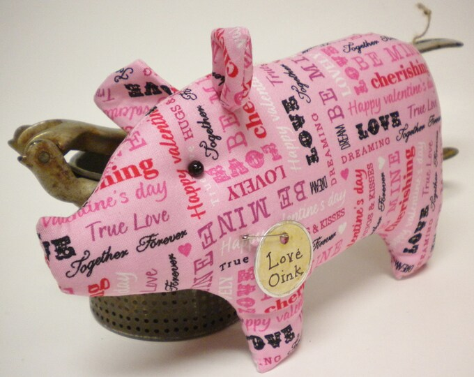 Primitive Valentine Pig - Made To Order | Valentine's Day Decor | Pink Pig Decor