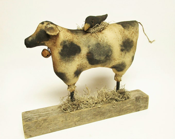 Primitive Cow with Crow, Handmade Holstein Cow Farmhouse Decor